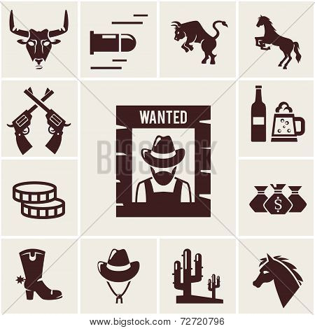 Wild West wanted poster and associated icons