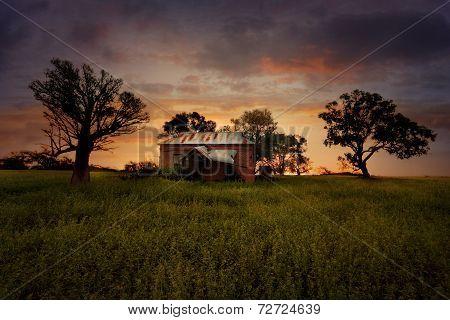 Sunset Old Abandoned Farm House