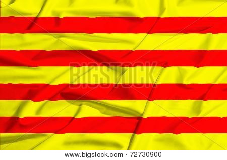 Catalunia Flag On A Silk Drape Waving