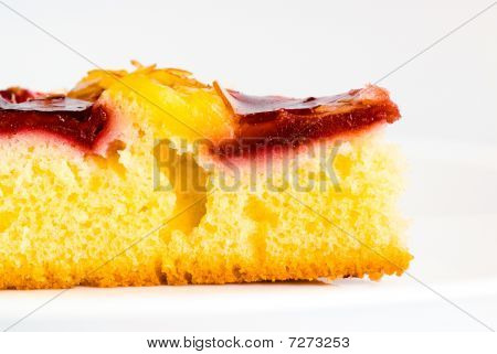cherry cake on white dish grey background poster