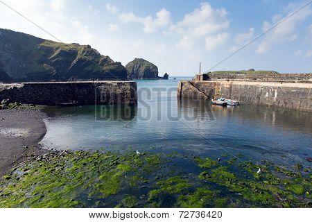 Mullion harbour The Lizard peninsula south Cornwall UK situated on Mounts Bay near Helston