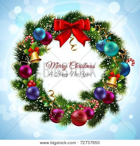 Merry christmas and happy new year greeting postcard with green wreath vector illustration poster