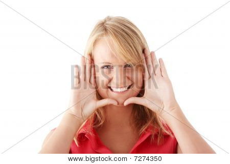 Casual Caucasian Young Woman Framing Her Face