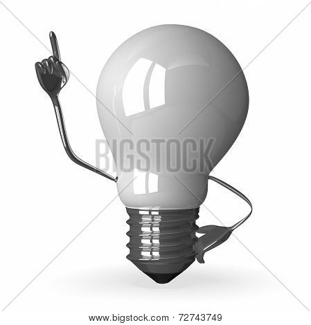 White tungsten light bulb character in moment of insight 3d render isolated on white poster