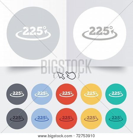 Angle 225 degrees sign icon. Geometry math symbol. Round 12 circle buttons. Shadow. Hand cursor pointer. Vector poster