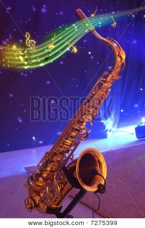 Saxophone With Note Signs.