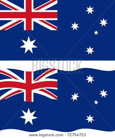Flat and waving Australian Flag. Vector
