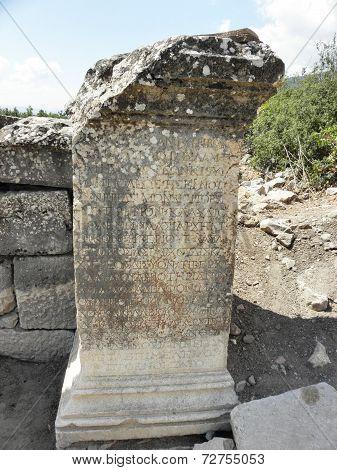 Remaining of column ancient city Kibyra.