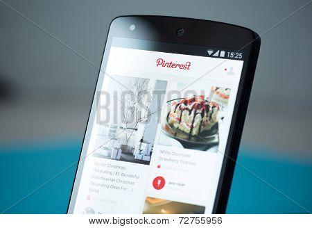 Pinterest Application On Google Nexus 5