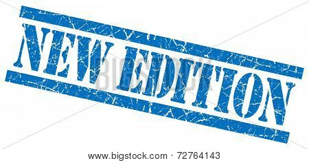 New Edition Blue Grungy Stamp On White Background