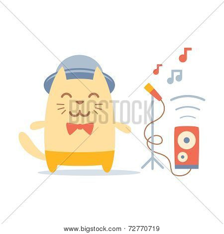 Musician character in costume hat and bow tie colorful flat. Cat male stands smiling poster