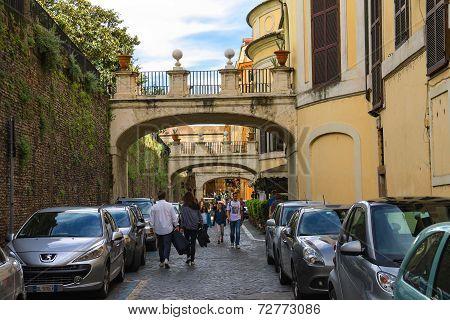 People On The Street Via Della Pilotta In Rome, Italy