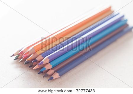 Cluster Of Colorful Pencil Crayons
