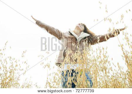 Woman on wheat Big Smile