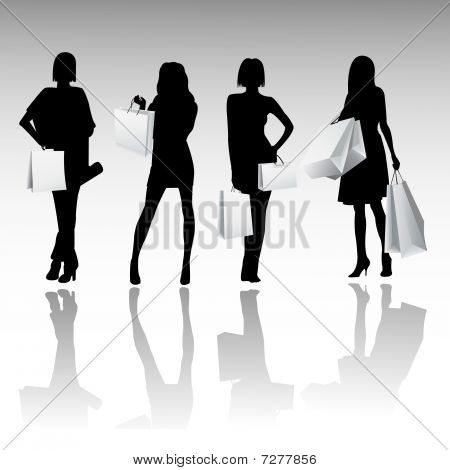 Silhouette girls shopping