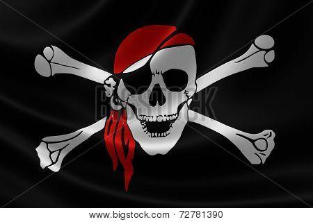 Pirate Flag On Satin Texture