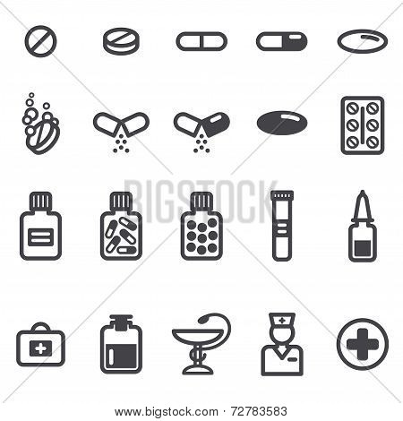Pills and capsules icons set.