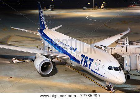 Ana All Nippon Airways Boeing 787 Dreamliner Tokyo Haneda Airport At Night