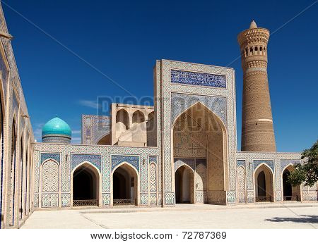 View of Kalon mosque and minaret - Bukhara - Uzbekistan poster