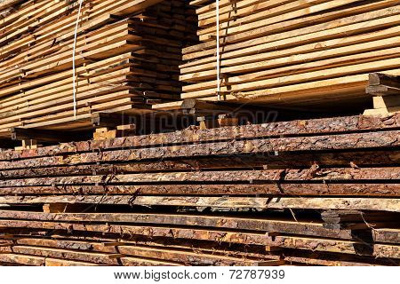 Wooden balks and boards