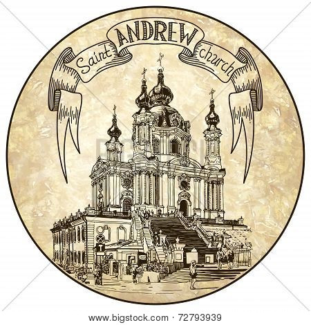drawing of Saint Andrew orthodox church by Rastrelli