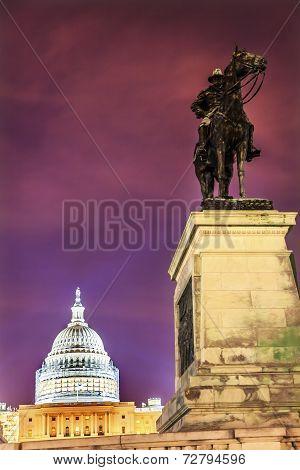 Us Grant Statue Memorial Us  Capitol Construction Evening Stars Washington Dc