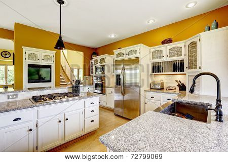 Farm House Interior. Luxury Kitchen Room Interior