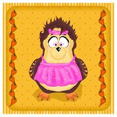 owl in the apron with hearts on a colored background of peas and carrots poster
