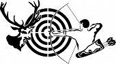 Hunting for deer, archer and target deer, black stencil poster