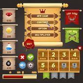 Arcade game menu interface design template vector illustration poster