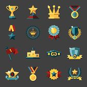 Award icons set of trophy medal winner prize champion cup isolated vector illustration poster