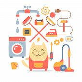 Character home handyman in uniform colorful flat composition of professional accessories. Cat male stands smiling and holding a screwdriver poster