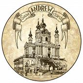 original  digital drawing of Saint Andrew orthodox church by Rastrelli in Kyiv (Kiev), Ukraine, engraving style on circle old paper grunge background poster