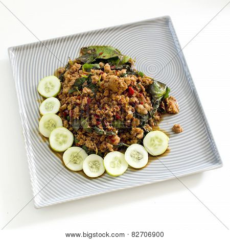 Thai Spicy Food Basil Meat Fried Recipe (krapao Mooi) On Square Plate Isolate On White Background
