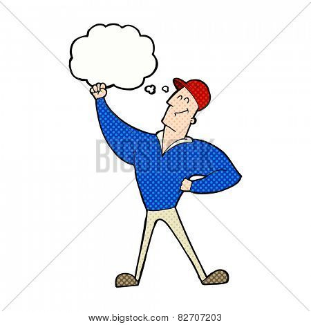 cartoon man striking heroic pose with thought bubble poster