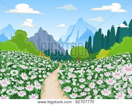 Illustration of a Flowery Field Leading to a Mountain