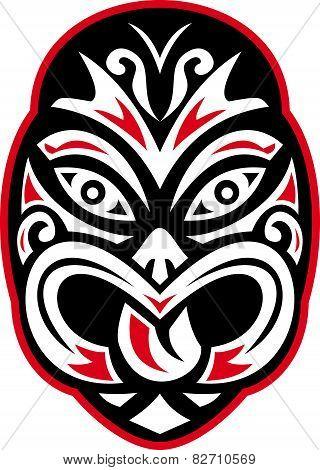 Maori Tiki Moko Tattoo Mask Retro