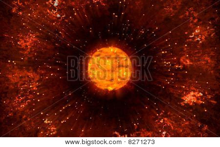 poster of Sun Explosion with Infra Red filtering showing allot of flaring - 3D rendering