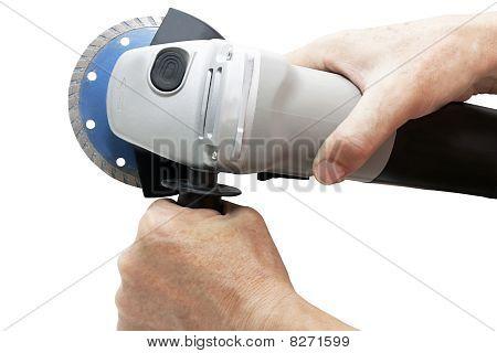 circular saw in hand