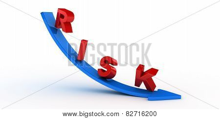 Risk text on blue arrow