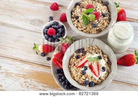 Muesli,  Ripe Berries And Yogurt For Healthy  Breakfast  On A Wooden Table