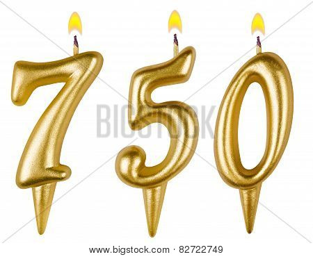 candles number seven hundred fifty isolated on white background poster