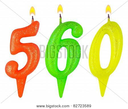 candles number five hundred sixty isolated on white background poster