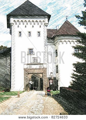 Castle Velke Mezirici illustration