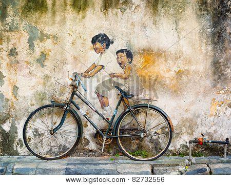 George Town, Penang, Malaysia - Circa Jul 2014: Public Art In Malaysia Uses Contrasting Media Of Scu