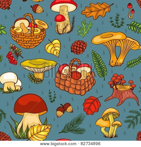 Seamless Pattern With Mushrooms Blue