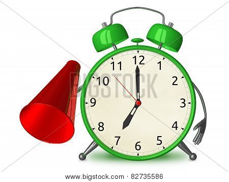 Green alarm clock character with megaphone isolated on white poster