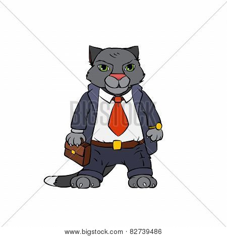 Grey cat boss with attache case.