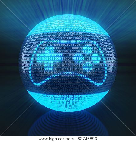Gaming icon on globe formed by binary code