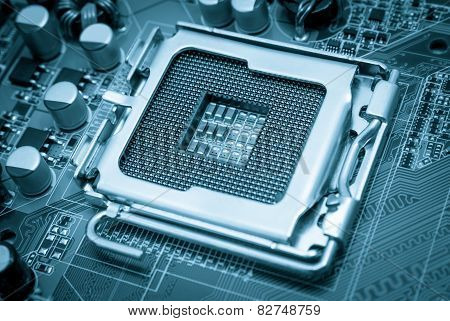 Electronic Collection - Empty Cpu Socket Toned Blue